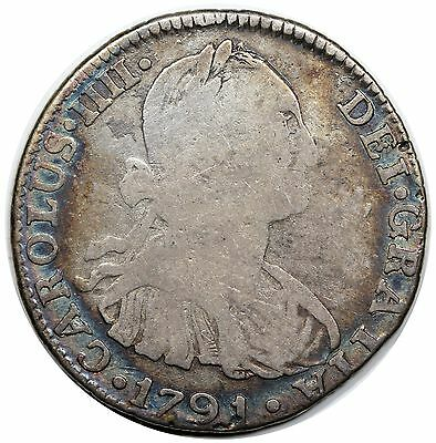 1791-PTS PP Bolivia 2 Reales, Charles IV, nicely toned VG-F