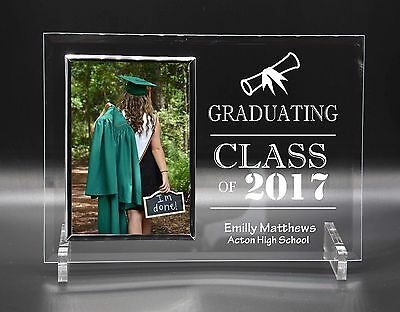 Personalised Engraved Glass Photo Frame Graduation Exam School Gift 4x6