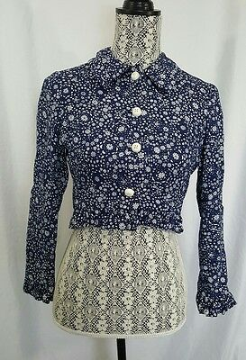 Vintage 1960s Anne Fogarty Cropped Frilled Blue White Floral Blazer Coat Small