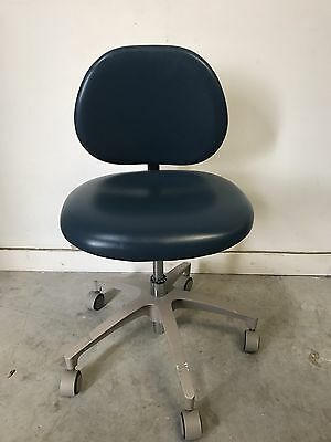"Adec Dental Stool 1601 Doctor Stool Height 15"" to 18"" Blue S/n L615525"