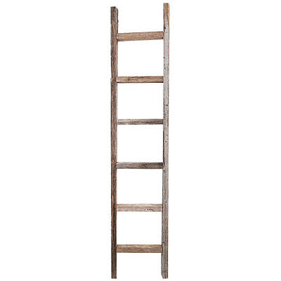 Decorative Ladder - Reclaimed Old Wooden Ladder 6 Foot Rustic Barn Wood