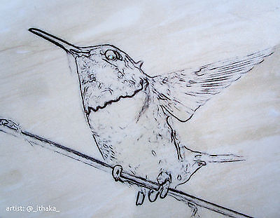 """LOVELY HUMMiNGBIRD ART 21"""" x 32"""" (Resin-Coated Drawing On Wood)"""