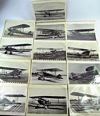 LOT of 13 Vintage Airplane Photos Double Wing Unidentified 8 x 10 B&W 1920s 30s