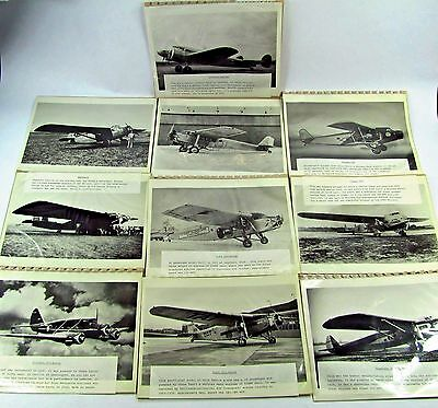 LOT of 10 Vintage Airplane Photos  Bernelli Trimotor Fokker 8 x 10 B&W 1930s 40s