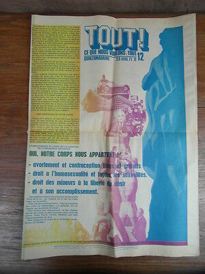 magazine LGBT gay ALL THIS THAT WE WANT TO 23 april 1971 No 12 Sartre FHAR Rare