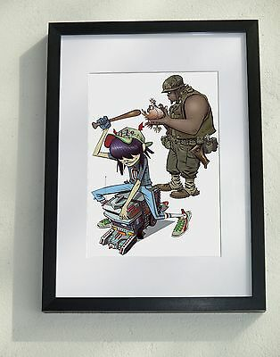 Framed (A3) and mounted Gorillaz - Noodle & Russel print (A4) - by Jamie Hewlett