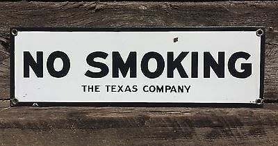RARE Vintage Original TEXACO Gas Oil ~ NO SMOKING The Texas Co. Porcelain Sign