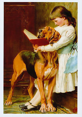 BRITON RIVIERE print Victorian Girl Reads to Naughty Boy Pet Bloodhound Dog