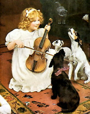 Print Victorian Girl Playing Violin Howling Jack Russell Terrier & Scottie Dog