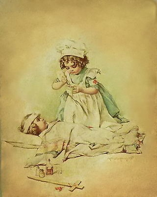 MAUD HUMPHREY Print Victorian Children Army Nurse Wounded Soldier Red Cross