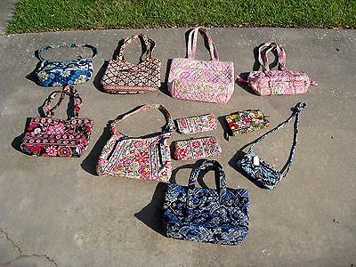HUGE 11 Piece Lot of Vera Bradley Purses and Clutches Some New!