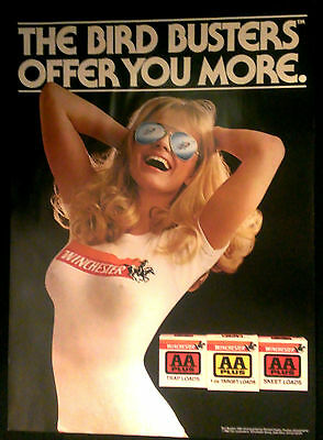 Winchester Bird Busters 1982 Pinup Poster Playboy Photo Ammo Promo Man-Cave New