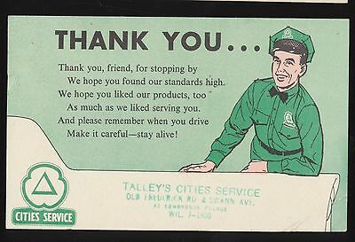1958 Talley's Cities Service Edmondson Village Baltimore Post Service Thank You