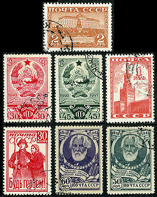 Russia, four sets of Scott# 841-842, 843-844, 856, 909-910, CTO or used