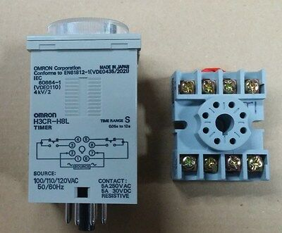 OMRON H3CR-H8L Timer (Power Off Delay), New (other), .6-12 seconds, 120 VAC