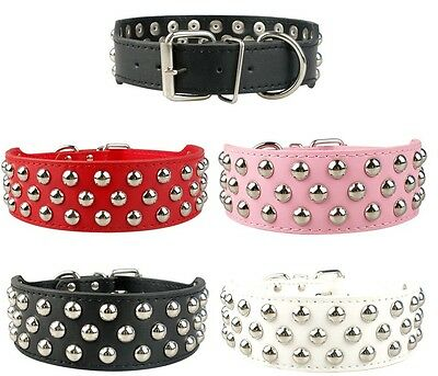 """NEW PU Leather Dog Collar Rivets Studs Pit Bull Terrier Pets Large L XL 2"""" WIDE"""
