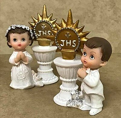 First Communion Baptism Praying Boy Girl with Chalice and Host Favor Figurine