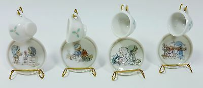 Precious Moments Mini Tea Set 4 Christmas Winter 1989 Enesco Samuel J. Butcher