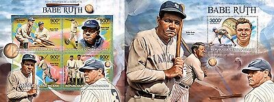 CA13218ab Central Africa 2013 Babe Ruth MNH SET