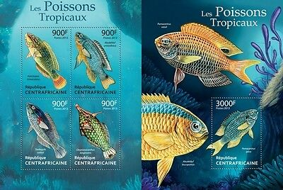 CA13318ab Central Africa 2013 Tropical Fishes MNH SET