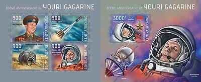 CA14108ab Central Africa 2014 Youri Gagarine MNH SET