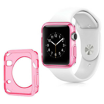 Soft Slim TPU Protection Case Cover For Apple Smart Watch 42MM Pink Pink