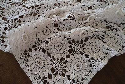 Small Vintage Crochet Lace Tablecloth Raised Rose Medallions White 50""