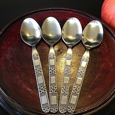 Set x 4 Matching - Vintage 70s Stainless Steel Coffee / Teaspoons - 11.5cm Long