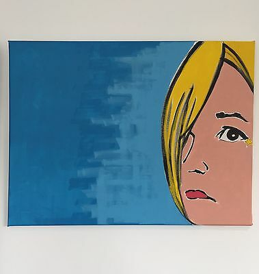 ORIGINAL PAINTING Girl POP Art Acrylic on Canvas ~ ONE of a KIND