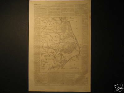 Map of North Carolina Engraving 1861