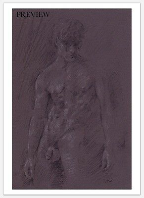 Original Nude Male Figure  Limited Edition Giclee Glossy Paper 5X7 Print W/coa