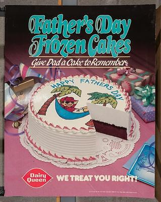 Vintage Dairy Queen Promotional Poster Father's Day Frozen Cakes 1988 dq2