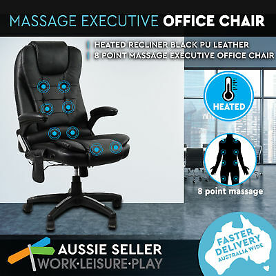 New 8 Point Massage Executive Office Computer Chair PU Leather Heated Recliner