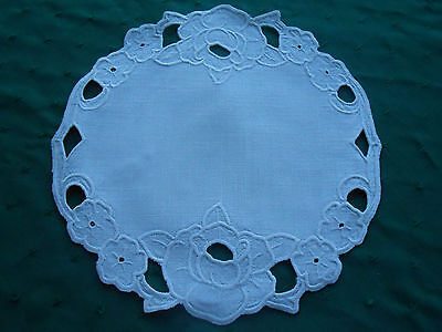 Fantastic Snow White Linen Doily With Open White Work Hand Embroidery, Circa1920