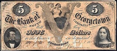 1850's $5 The Bank of Georgetown, SOUTH CAROLINA Note