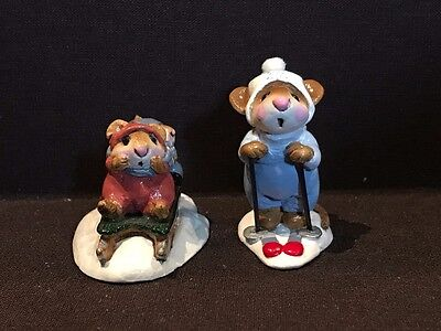 Wee Forest Folk M-85 Little Sledders & MS-9 Skier Mouse - Retired 1985