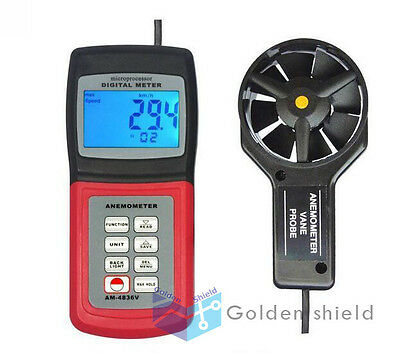 AM4836V Digital Anemometer Air Flow Wind Speed Wave Height Meter Tester