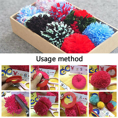 DIY Pompom Maker Fluff Ball Weaver Weaving Knitting Needle 2X 3Sizes Craft Tool