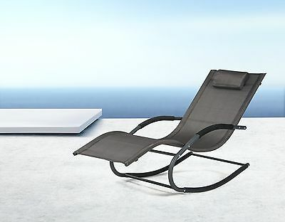 SoBuy®Garden Rocking Deck Chair,Sun Lounger with Footrest,Recliners,OGS28-SCH,UK