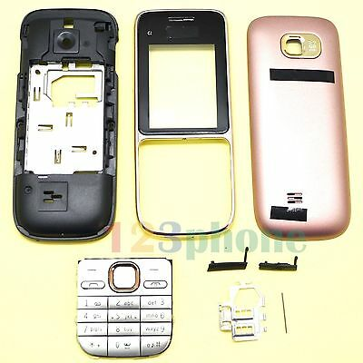 New Keypad + Battery Cover + Lens + Chassis Full Housing For Nokia C2-01 Gold