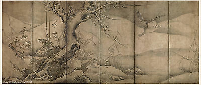 Japanese screen painting big size Flowers and birds in four seasons 1