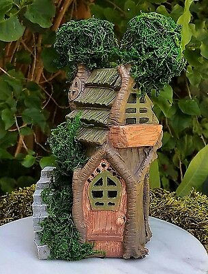 Miniature Dollhouse FAIRY GARDEN Furniture ~ Two Story Double Tree House w Moss