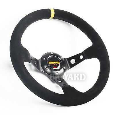 350MM Deep Dished Genuine Suede Leather Racing Sport Steering Wheel w/ MOMO Horn
