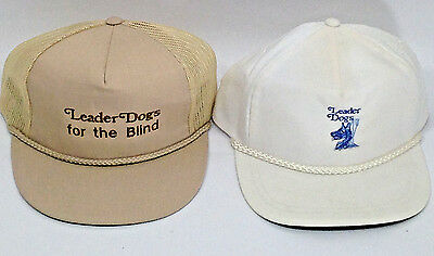 Lot of 2 Vintage Leader Dogs for the Blind Advertising Adult Baseball Caps Hats