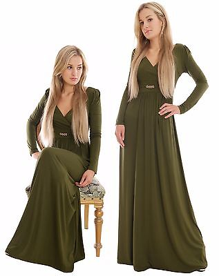 Long Casual Maxi Dress Empire Style Long Sleeve Maternity Plus Size Green MontyQ