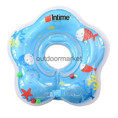 Safe Swimming Neck Float Blue Inflatable Ring for 1-24 Months Baby Infant