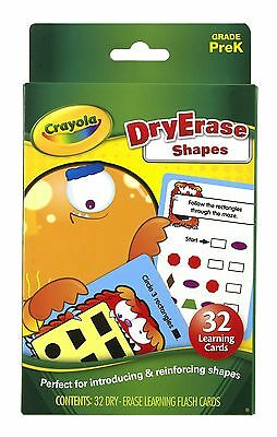 Crayola Dry-Erase Learning Flash Cards 32/Pkg-Shapes New Free Shipping