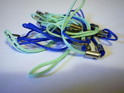 pack 20 mobile, camera, mp4 charm cords - blue & green