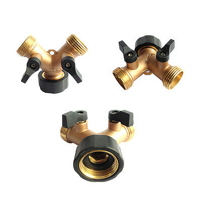 Brass 2-Way Y Water Hose Tap Connector On/Off Valve Garden Splitter Watering Kit