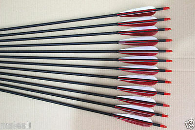 12Pcs Real Turkey Feather Carbon arrows for Recurve bow Hunting shooting Archery